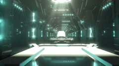 Science fiction futuristic interior a way to the light door Stock Footage
