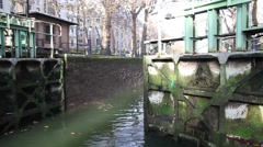 Gate of canal Saint Martin. Stock Footage