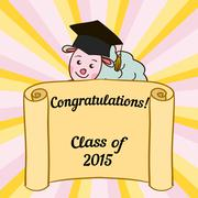 Greeting card with a character and congratulations graduate - stock illustration