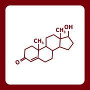 Chemical formula of testosterone - stock illustration