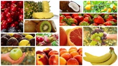 Close up of diverse fruits, montage Stock Footage