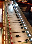 Volume control panel on switchboard in radio station Stock Photos