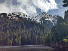 Mountains and forest overlooking Beaver Lake, Sitka, Alaska, United States Stock Photos