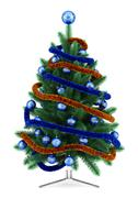 Stock Illustration of decorated christmas tree isolated on white background