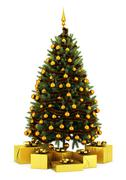 Stock Illustration of decorated christmas tree with gift boxes isolated on white background