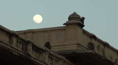 HD Monkeys on a roof, full moon, india Stock Footage