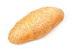 whole bread with sesame isolated on white background - stock photo