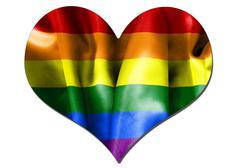 gay pride love heart flag - stock illustration