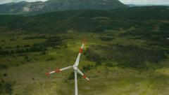 Tilt-up Overflight Windmill Stock Footage