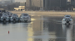 Boats moored on the Moskva River Stock Footage