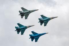 Team of military air fighters su-27 Stock Photos