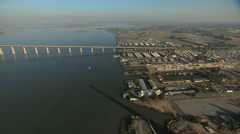 Aerial USA San Francisco Bay Pacific Bridge Marina Stock Footage