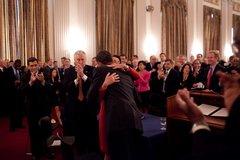 President Barack Obama hugs House Speaker Nancy Pelosi at the Cannon House Of Free Stock Photos