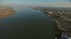 Aerial USA San Francisco Bay Antioch Park Wildlife wetlands - stock footage