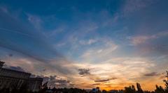 Urban dusk holy grail sunset timelapse day to night skyline Stock Footage