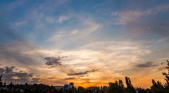 Urban dusk holy grail sunset timelapse day to night skyline Stock Footage