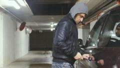 Car thief steals car uhd 4k Stock Footage