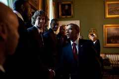 President Barack Obama greets members of the Los Angeles Lakers in the Green  Free Stock Photos