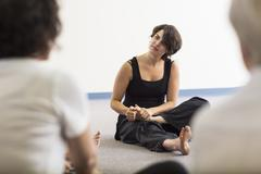 Students stretching in acting class Stock Photos