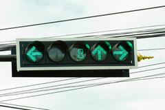 Traffic light with countdown system at junction in thailand Stock Photos