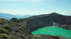 Kelimutu volcanic lake in Indonesia Stock Footage