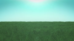 Animation of Countryside landscape-green grass and sky Stock Footage