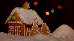 Christmas gingerbread house snowy coconut - stock footage