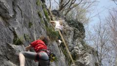 Tilt-Down on Teenagers, Climbers Stock Footage