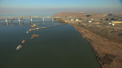 Aerial USA San Francisco Bay Suisun Channel Oil Stock Footage