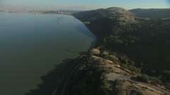 Aerial San Francisco Carquinez Strait ship California USA Stock Footage
