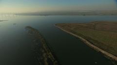 Aerial San Francisco Bay San Joaquin River shore Stock Footage