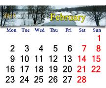 calendar for february of 2015 with winter river - stock illustration