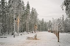 Sledge at snow valley in finnish lapland in winter Stock Photos