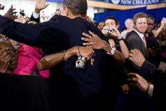 A woman embraces President Barack Obama following the town hall meeting at th Free Stock Photos