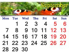 Calendar for september of 2015 year with butterfly Stock Illustration