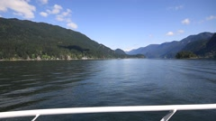 Boat cruise in scenic Deep Cove and Indian Arm in British Columbia, Canada Stock Footage