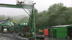 Snowdon mountain railway engine shed and train Stock Footage