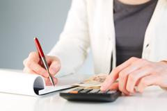 Financial calculations - business accounting Stock Photos