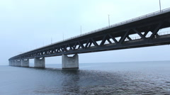 Train The Bridge  Oresund Sea Bridge Stock Footage