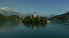 Lake Bled and church panning. Stock Footage