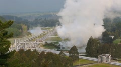 Wairakei Power Station, a geothermal wet steam power station Stock Footage