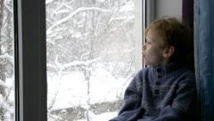 Christmas Blizzard Outside the Window Stock Footage