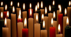 Red Green and White Christmas Candles - stock footage
