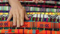 Woman Choosing Traditional Mexican Fabric Stock Footage