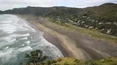 Piha Beach, New Zealand coastline - stock footage
