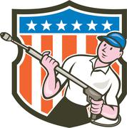 pressure washer water blaster usa flag cartoon - stock illustration