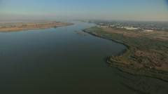 Aerial California USA San Francisco Bay marshland wildlife - stock footage