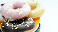 360-degree rotating cvarious donuts Stock Footage