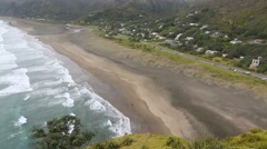 Piha Beach, New Zealand coastline Stock Footage