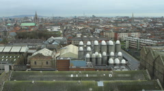 Complete view of Dublin over the Guiness silos Stock Footage